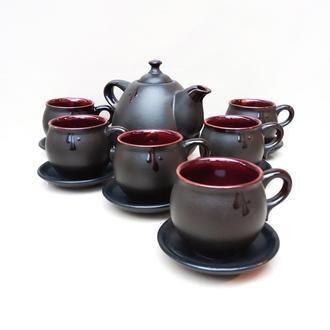 Чайний набір Крапля на 6 осіб чорний