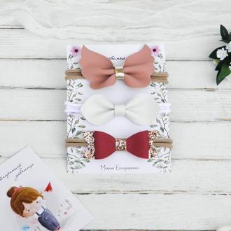 Повязки для девочки в подарок / Повязка для малышки с бантиком, бабочкой, солоха
