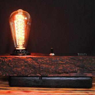 Настольная лампа  в стиле лофт деревянная лампа ночник торшер люстра