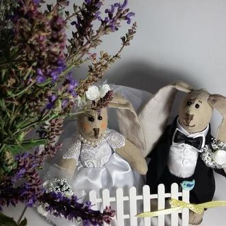Свадебные зайки в стиле Тильда.  Тильда зайка