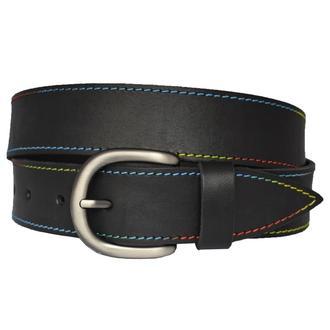 Кожаный женский ремень черный с разноцветной строчкой для джинсов Rainbow38