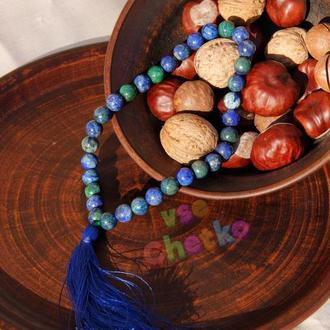 Четки из азурмалахита на 33 бусины с синей кисточкой