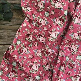 Ткань хлопок для рукоделия винтажные розы на розовом