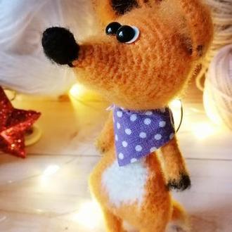 Лисичка брелок, вязаная миниатюрная игрушка лисичка