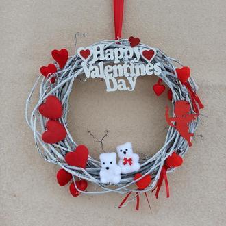 Декор ко дню святого Валентина, венок на дверь