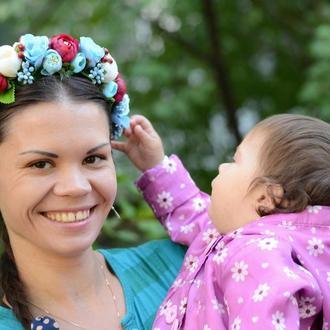 Венок / ободок на голову из искусственных цветов  № 33