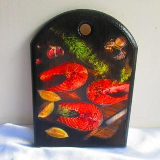 Доска для кухни ′Fish′ сервировочная (большая),сырная,разделочная,декор кухни