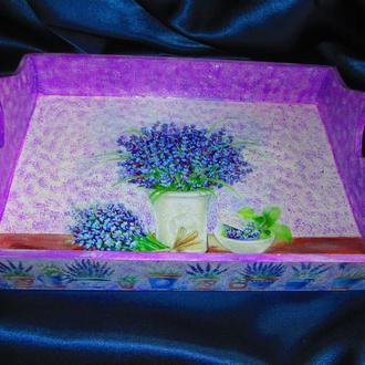 Поднос ′Лавандовый′ в стиле Прованс, декор для кухни, подарок