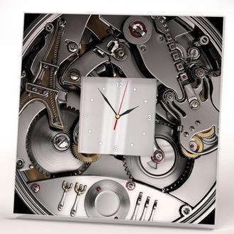 """Інтер'єрні годинники з фото печаткою """"Годинниковий механізм скелетон. Стімпанк"""""""