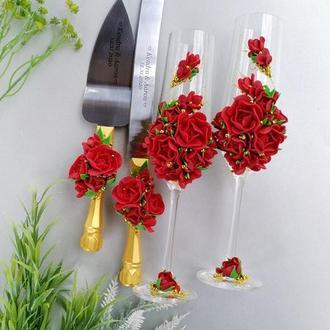 Свадебный набор: бокали + свечи в бордовом и золотом цвете
