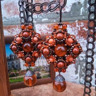 Яркие серьги с янтарем, сердоликом, яшмой и кораллом
