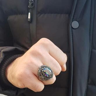 Турецкие кольца с Мистическим топазом ручной работы Серебро 925 пробы