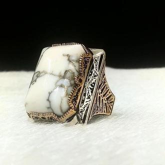 Большое редкое кольцо из серебра Огромный перстень мужской ручной работы