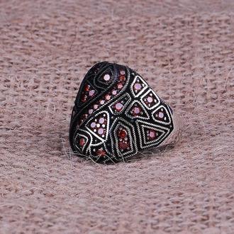 Абстрактное Кольцо перстень мужской на подарок ручной работы из черненного серебра с микрокамнями
