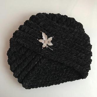 Шапка чалма тюрбан черная велюр