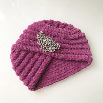 Велюрова чалма тюрбан рожево-фіолетового кольору