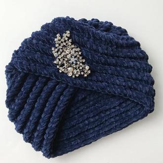 Велюровая чалма тюрбан  темно-синего цвета