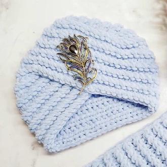 Велюрова чалма тюрбан сіро-блакитного кольору