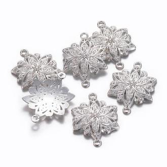 Коннектор Цветок большой 2 отверстия Серебро, 1 уп - 2 шт, размер 40х28х2.5мм