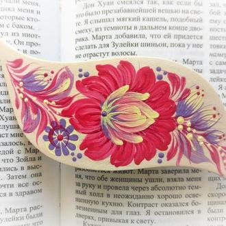 Деревянная заколка автомат для волос Роза чайная, авторская Петриковская роспись