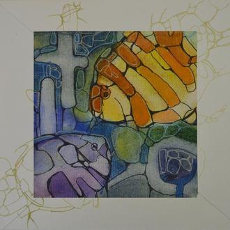 Оригинальная картина живопись. Рыбки Винтажная акварель.