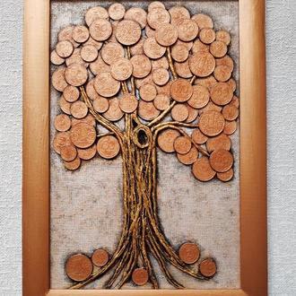 Монетное денежное дерево (20х30) медное панно