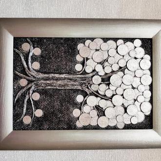 Монетное денежное дерево (20х30) серебро панно