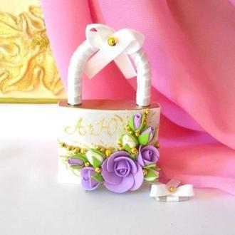 """Весільний замочок """"Лебеді"""" в бузковому і золотому кольорі"""