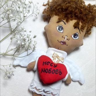 Лялечка янголятко кавова. Подарунок до Дня Святого Валентина і 8 березня