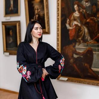 Оригинальное вышитое платье из натуральной ткани wild flowers