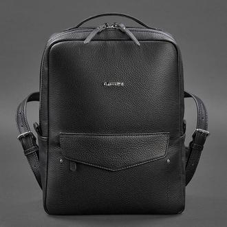 Кожаный женский городской рюкзак на молнии Cooper черный флотар