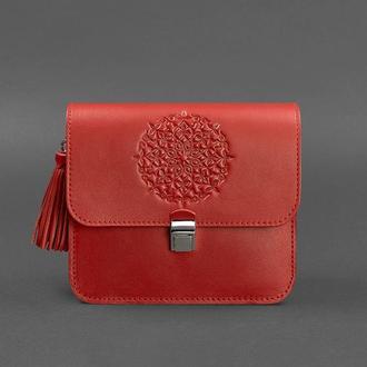 Кожаная женская бохо-сумка Лилу красная