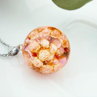 Терракотовый кулон с цветами озотамнуса Подарок девушке на 8 марта (модель № 2764) Glassy Flowers