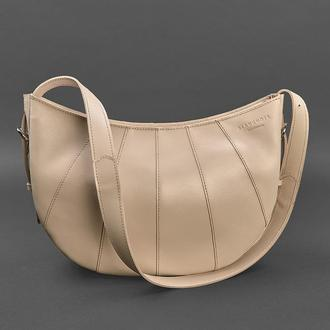 Кожаная женская сумка Круассан светло-бежевая