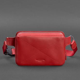 Кожаная женская поясная сумка Dropbag Mini красная