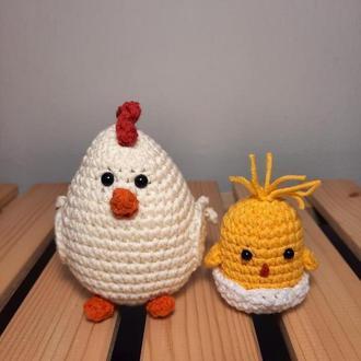 Вязаный набор на Пасху. Вязаная курица и Вязаный цыпленок