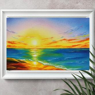 "Картина маслом ""Закат солнца"", морской пейзаж, масло и холст"