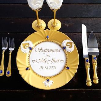 Свадебный прибор для торта с 5 единиц в золотом и синем цвете
