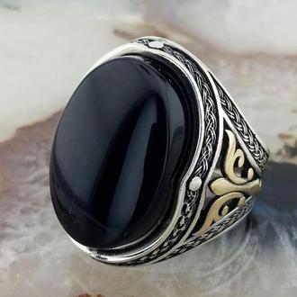 Кольцо серебряное Мужской перстень турецкий Талисман с камнем Оникс, Янтарь