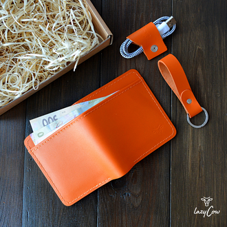Мужской классический кошелек двойного сложений из натуральной кожи оранжевого цвета