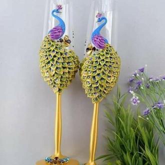 """Свадебные бокалы """"Павлины"""" в золотом, фиолетовом, голубом цвете"""