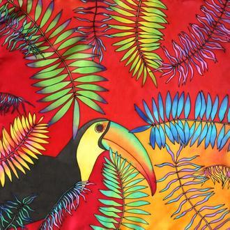 Шейный платок  росписи с туканом, шовкова хустка, платок с птицей