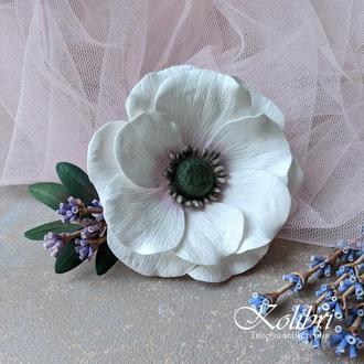 Заколка для волос с цветком анемоны и лавандой