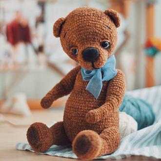Мишка Тедди / Вязаный мишка / Игрушка медвежонок /Подарок мишка / Медвежонок с бантом