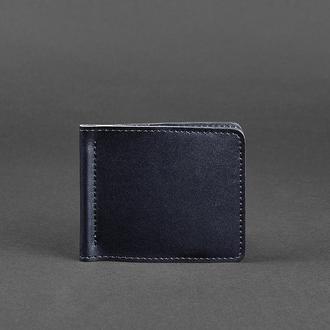 Мужское кожаное портмоне синее Краст 1.0 зажим для денег