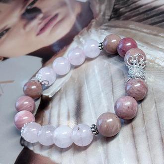 Браслет из натуральных камней, браслет из родонита и розового кварца, украшение из камней