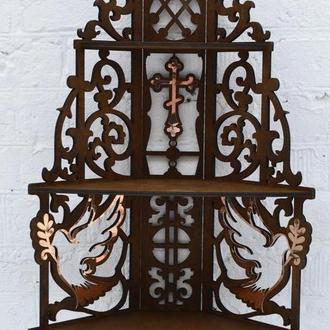 Деревянный Иконостас,полка для икон, угловая полка для икон трехъярусная, иконостас из дерева