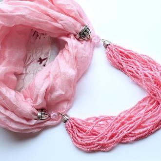 розовое колье из шелка и бисера