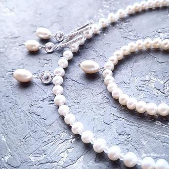 Комплект из натурального жемчуга в серебре с кристаллами циркона