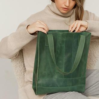 Кожаная женская сумка шоппер Бэтси зеленая